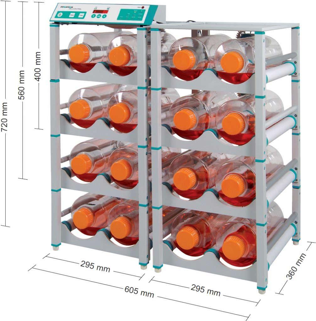 CELLROLL-System mit Motoreinheit, Aufbaudecks für Rollerflaschen, Steuereinheit, Netzteil und Steuerkabel